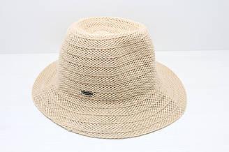 Женская летняя пляжная шляпа канотье от солнца песочного цвета