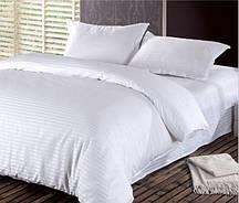 Белый сатиновый двухспальный комплект постельного белья.