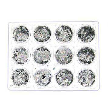 Декор для нігтів (ромбики), Global Fashion, срібло, 12 шт K143 K145