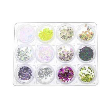 Декор для нігтів, 12 кольорів