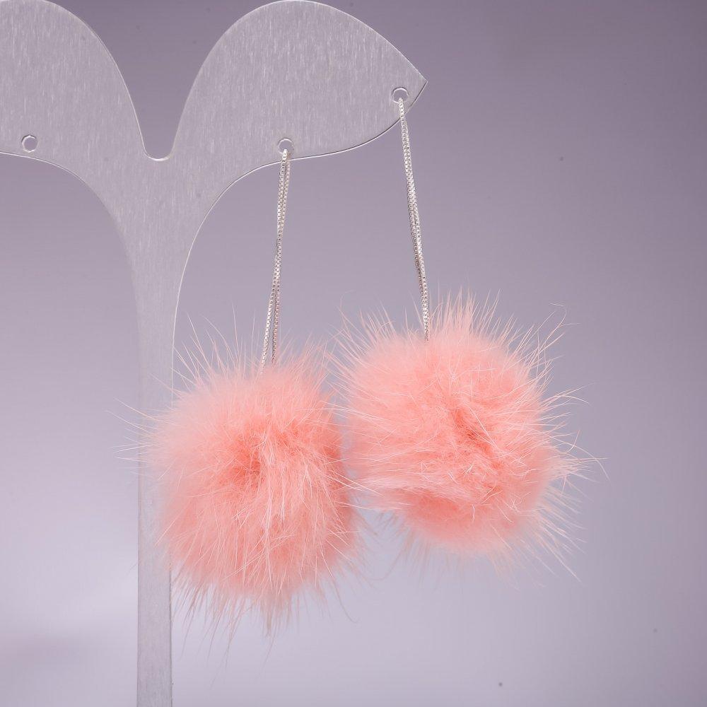 Серьги длинные с натуральным мехом розовые L-10см