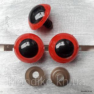 Глазки для игрушек, Акрил, 20 мм, Цвет: Красный (3 пары)