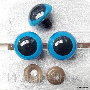 Глазки для игрушек, Акрил, 20 мм, Цвет: Голубой (3 пары)