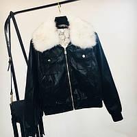 Женская куртка AFTF BASIC из экокожи черная с белым съемным мехом M, фото 1
