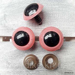 Глазки для игрушек, Акрил, 20 мм, Цвет: Розовый (3 пары)