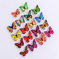 Светодиодные, разноцветные, декоративные бабочки! Наклейки для украшения дома! Поштучно.