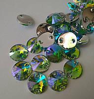 Стразы пришивные Риволи 10 мм Peridot AB, синтетическое стекло, фото 1