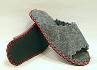 Открытые комнатные тапочки-шлёпанцы из войлока женские с красным шнурком, фото 1