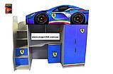 Кровать машина чердак машинка Ауди со столом, комодом и шкафом, фото 4