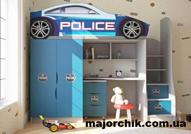 Кровать машина чердак машинка Полиция со столом и шкафом Police