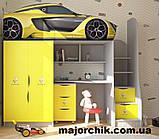 Кровать машина чердак машинка Полиция со столом и шкафом Police, фото 9
