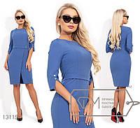 Платье женское с несъемным поясом спереди - Голубой, фото 1