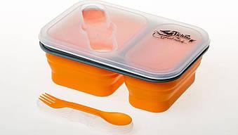 Контейнер силиконовый на 2 отсека Tramp 900мл с ловилкой TRC-090, оранжевый