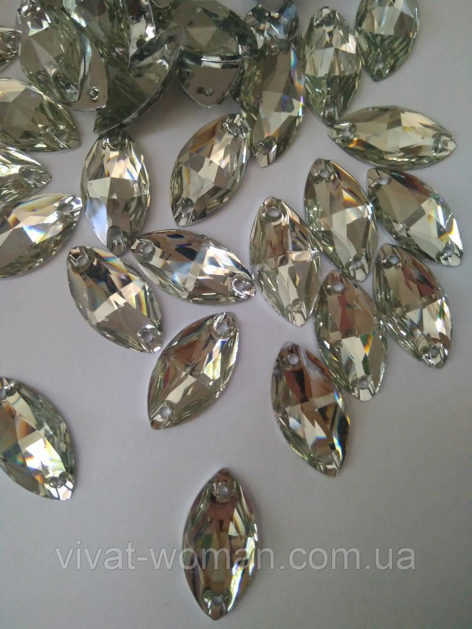 Стразы пришивные Маркиз (лодочка) 9х18 мм Crystal, синтетическое стекло