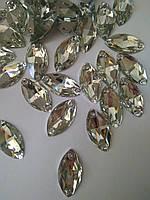 Стразы пришивные Маркиз (лодочка) 9х18 мм Crystal, синтетическое стекло, фото 1