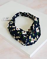 Модная повязка на голову синего цвета с цветочным принтом
