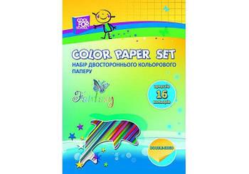 Набор двухсторонней цветной бумаги А4 16 л.16 цв 80 г/м2