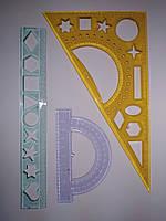 Набор геометрический, 3 предмета: линейка 20см, транспортир, треугольник, 990337