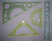 Набор геометрический, 4 предмета: треугольник 30*60*90, треугольник 15, 990757 см, линейка 20см), , в пак.26 *11см, Украина