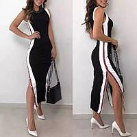 Трикотажное черное платье макси длинное открывается сбоку на кнопках CAVALIERI