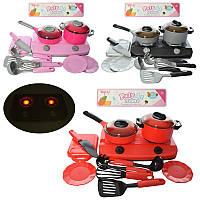 Детская посуда, плита, кастрюля, сковородка, кухонные принадлежности, звук, свет, 3 цвета, TP680-81-82