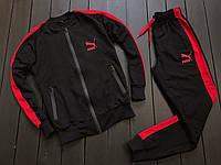 Мужской весенний спортивный костюм Puma с лампасами (black/red), черный спортивный костюм Пума с лампасами