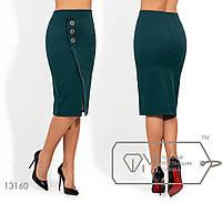 Юбка женская с имитацией запаха - Темно-зеленый, фото 1