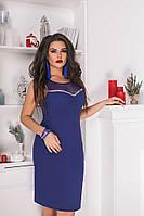 Платье женское летнеекрепдайвинг+сетка Большого размера Электрик