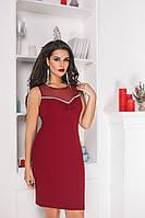 Платье женское летнеекрепдайвинг+сетка Большого размера Бордовый ЕК№ 40211, Бордо, 54, Креп-дайвинг