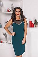 Платье женское летнеекрепдайвинг+сетка Большого размера Бутылочный ЕК№ 40211, Бутылка, 52, Креп-дайвинг