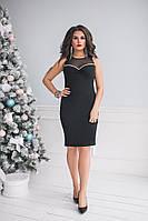 Платье женское летнеекрепдайвинг+сетка Большого размера Черный ЕК№ 40211, Черный, 50, Сетка