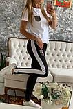 Двухцветный Спортивный костюм майка + штаны брюки Лампас , фото 3