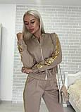 Костюм стильный женский чёрный, жёлтый, бежевый, хаки, фото 4