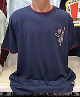 Мужские качественные хлопковые турецкие футболки синего цвета больших размеров