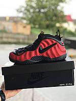 Кроссовки Nike Air Foamposite Pro мужские, Найк Фемпозин. Натуральная кожа. Код SD-8136. Черные с красным
