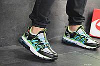 Кроссовки Nike, Найк. Натуральная кожа и сетка. Силиконовые подушки. Код SD-8133. Черные с салатовым