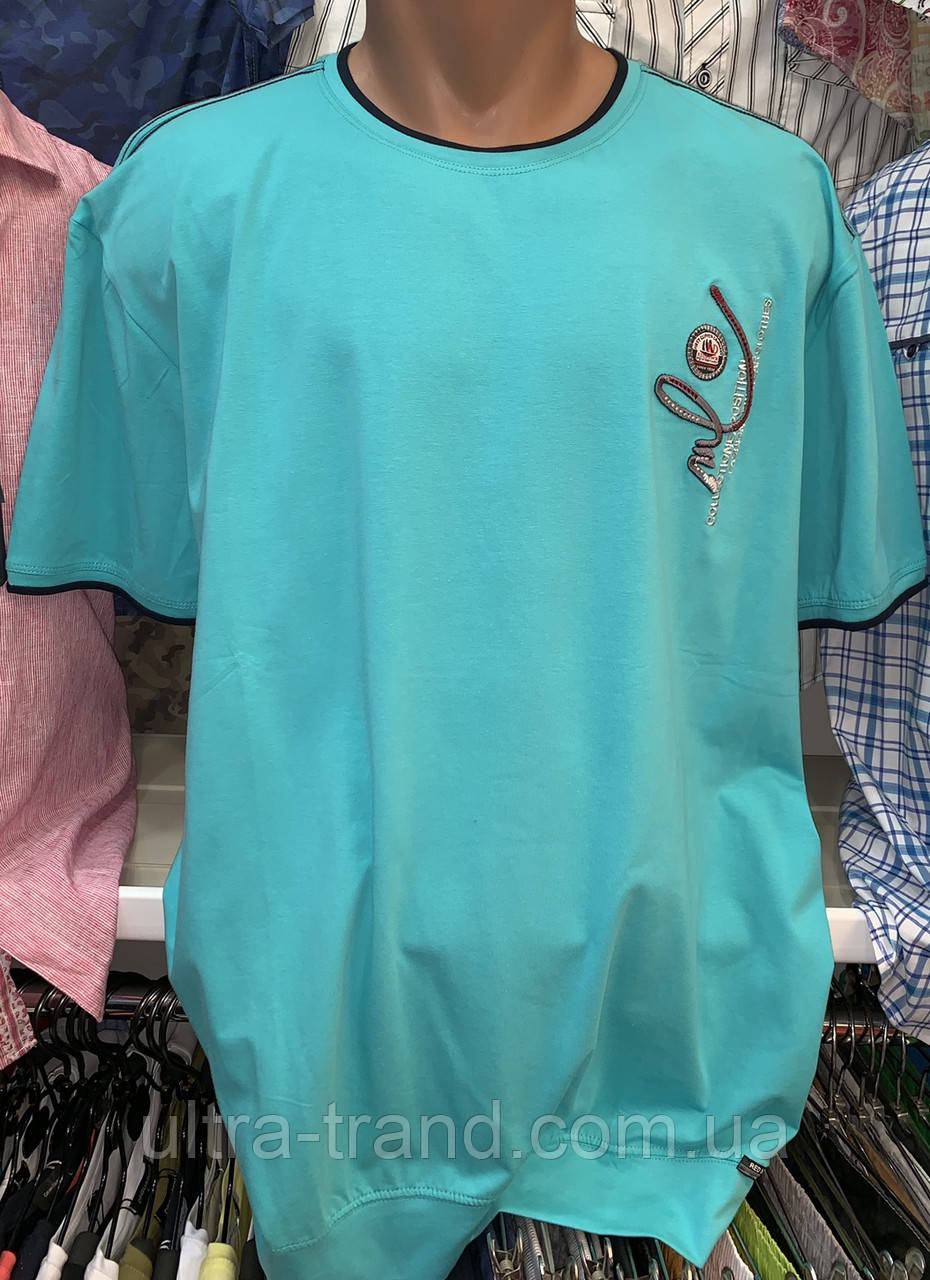 Стильные хлопковые турецкие мужские футболки на манжете мятного цвета больших размеров