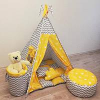 """Вигвам, детская палатка KatyPuf """"Желтые Короны"""""""