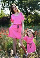 Детское льняное розовое платье