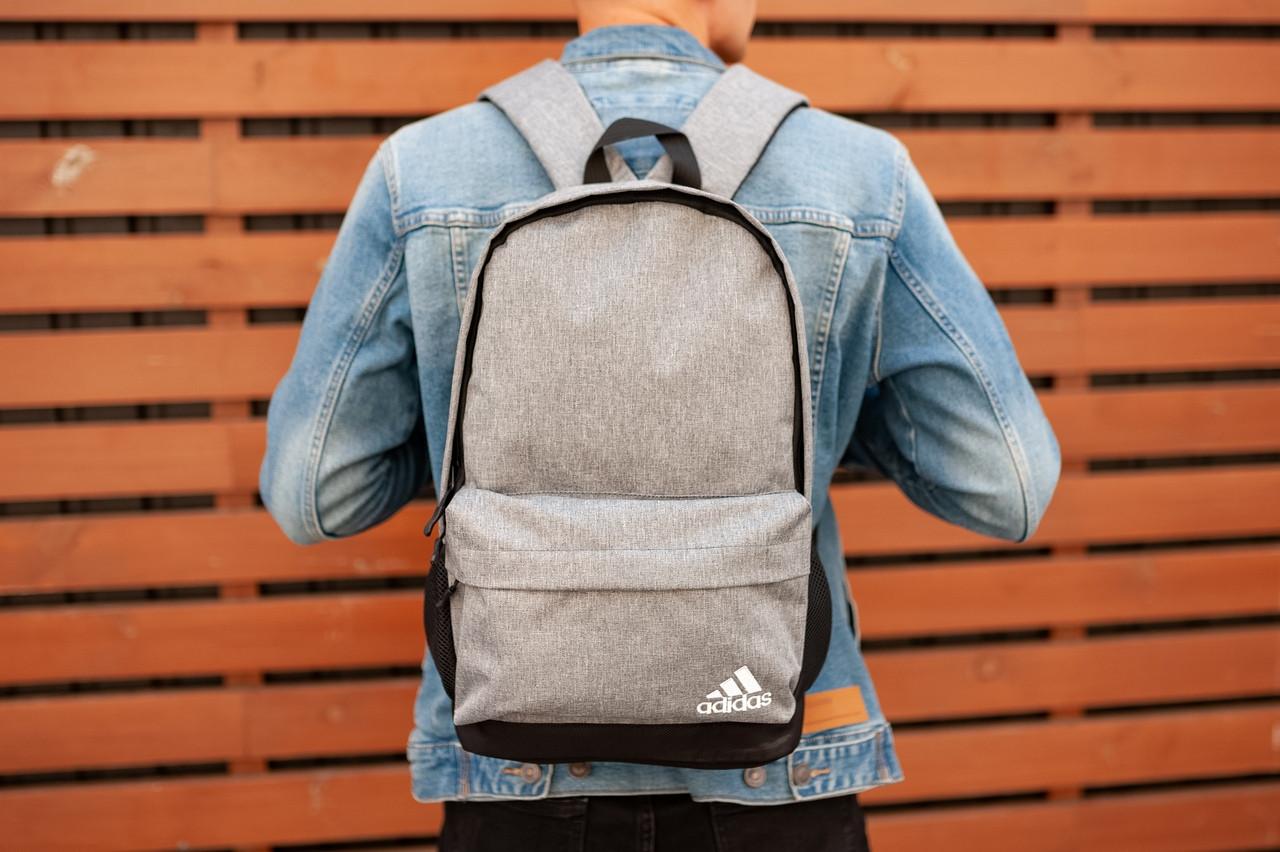 Рюкзак в стиле Adidas (gray), городской рюкзак Адидас серый, серый рюкзак Адидас (Реплика ААА)