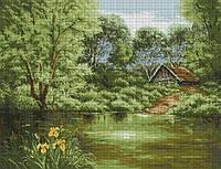 Набор для вышивки крестом Дом у пруда. Размер: 47.5*36.5 см