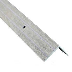 Алюминиевый лестничный профиль рифленый декорированный 24.5мм х 20мм 2.7м дуб беленый