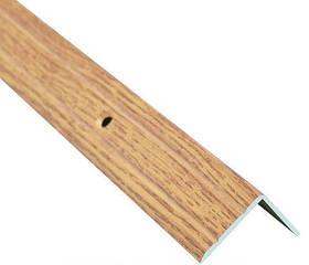 Алюминиевый лестничный профиль рифленый декорированный 24.5мм х 20мм 2.7м дуб светлый