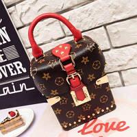 Маленькая женская сумка JingPin Бочонок LV красная, фото 1