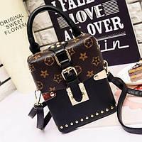 Маленькая женская сумка JingPin Бочонок LV черная, фото 1