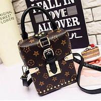 Маленькая женская сумка JingPin Бочонок LV коричневая, фото 1