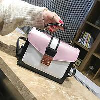 Маленькая женская двухцветная сумка JingPin розовая, фото 1