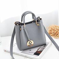 Маленькая женская сумка JingPin с металлическими ручками Fashion серая, фото 1