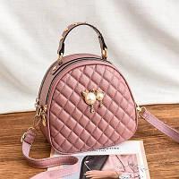 Маленькая женская стеганая сумка-рюкзак JingPin Kitty розовая (пудра)