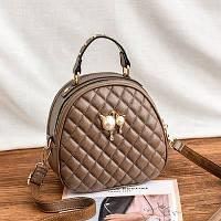 Маленькая женская стеганая сумка-рюкзак JingPin Kitty бежевая